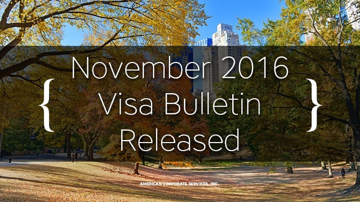 November 2016 Visa Bulletin Released