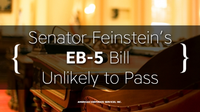 Senator Feinstein's EB-5 Bill Unlikely to Pass