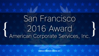 American Corporate Services, Inc. Receives 2016 San Francisco Award
