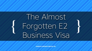The Almost Forgotten E2 Business Visa
